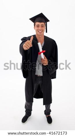 Happy Teen Guy Celebrating Graduation agaisnt white background - stock photo
