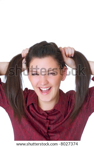 happy teen holding her hair