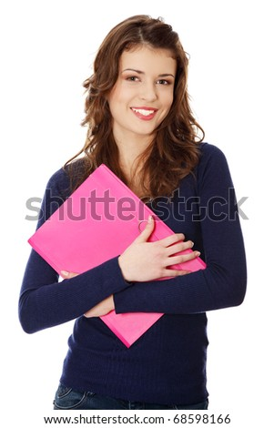 Happy teen student girl, isoalated on white background