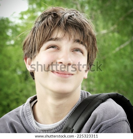 Happy Teenage Boy portrait outdoor - stock photo