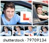 Happy teenage boy showing holding a modern car key and a learner plate while sitting behind the wheel - stock photo