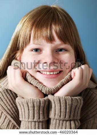 Happy teenage girl - stock photo