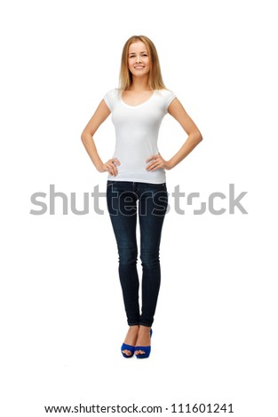happy teenage girl in blank white t-shirt - stock photo