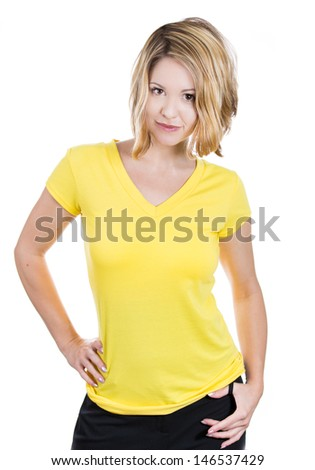 happy teenage girl in blank yellow t-shirt, isolated on a white background  - stock photo