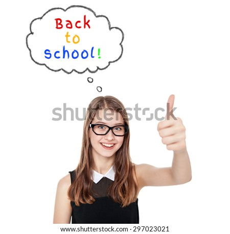 Happy teenage girl showing thumbs up isolated. Back to school concept - stock photo