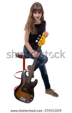 Happy teenage girl sitting on bar stool on white background