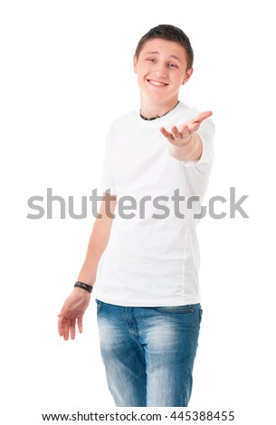 Happy teenage student boy, isolated over white background