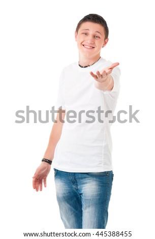 Happy teenage student boy, isolated over white background - stock photo