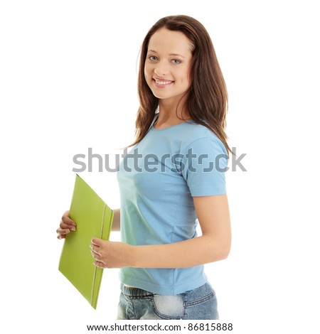 Happy teenage student girl, isolated on white - stock photo