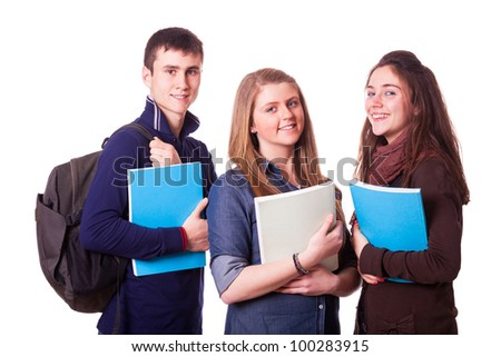 Happy Teenage Students on White - stock photo