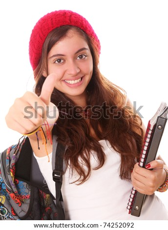 Happy teenager with an expression of positivism and ready for school - stock photo