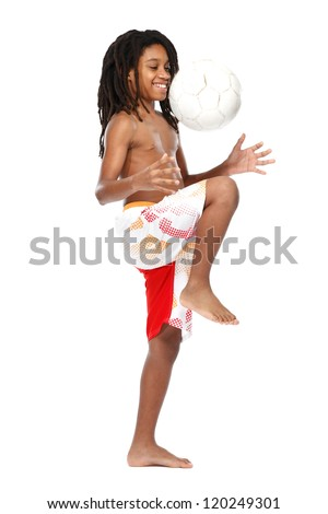 happy teenager with ball on white background - stock photo