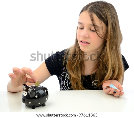 Happy teenager with euro money savings - stock photo