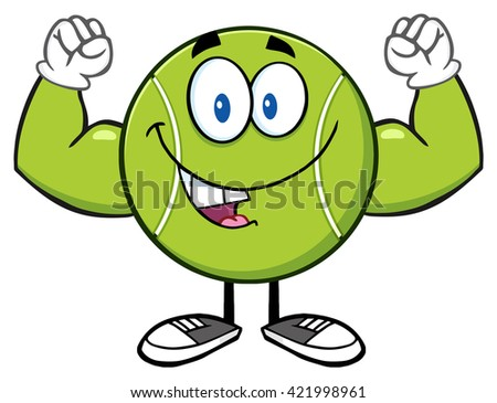 Happy Tennis Ball Cartoon Mascot Character Flexing. Raster Illustration Isolated On White - stock photo