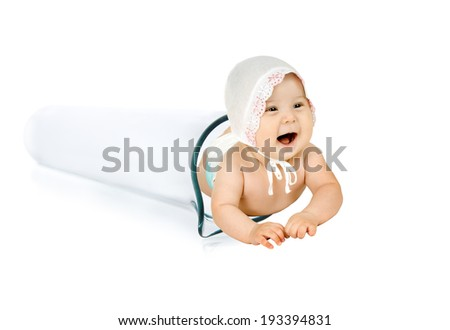 happy test-tube baby on white background, isolated,  horizontal photo - stock photo