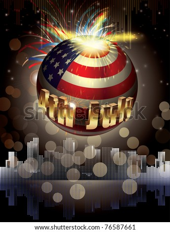Happy 4th July. Holiday background. Explosion of colors and shapes - stock photo