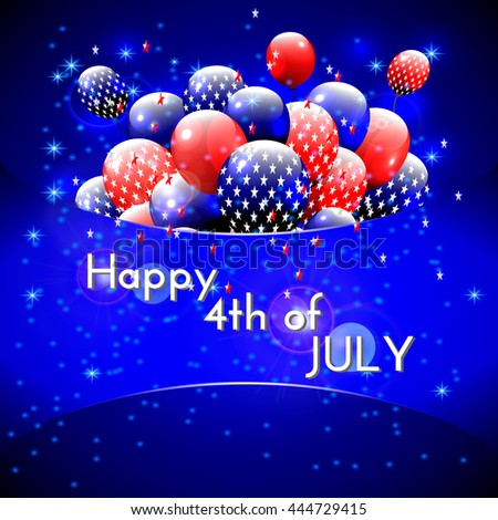 Happy 4th of July design. Blue background, balloons with stars, striped text. American independence day greetings. For invitation, party, bbq.