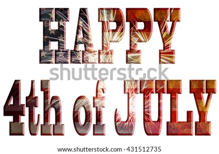 Happy 4th of July Text Outline United States of America USA Flag with Fireworks Grunge Texture Background for Independence Day - stock photo