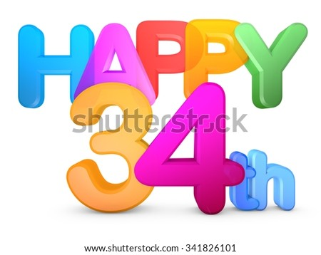 Happy 34th Title in big letters - stock photo