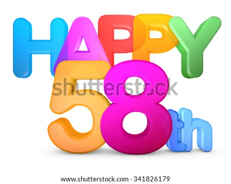 Happy 58th Title in big letters - stock photo