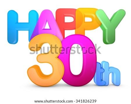 Happy 30th Title in big letters - stock photo