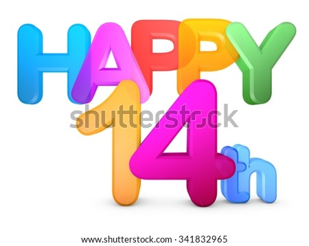 Happy 14th Title in big letters - stock photo