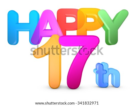 Happy 17th Title in big letters - stock photo