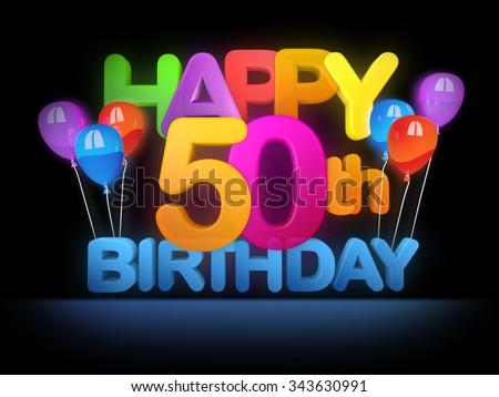 Happy 50th Title in big letters, dark - stock photo