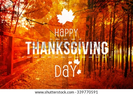 Happy thanksgiving against autumn scene - stock photo