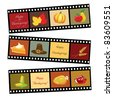 Happy Thanksgiving card template. Photos of Thanksgiving icons. Also available in vector format. - stock photo