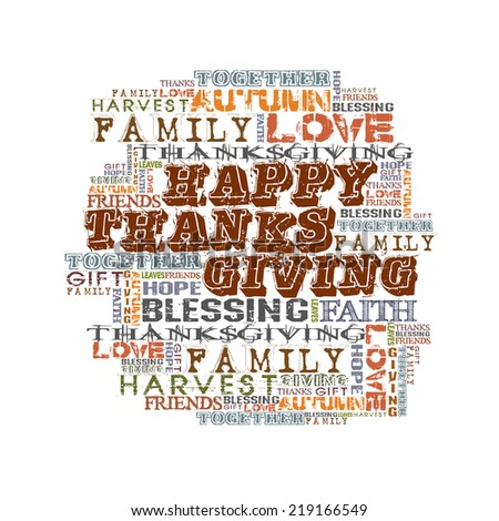 Happy Thanksgiving   Different Words on white background   - stock photo