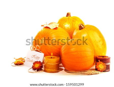 Happy Thanksgiving holiday, traditional gourd decoration isolated on white background, festive postcard, autumnal harvest season - stock photo