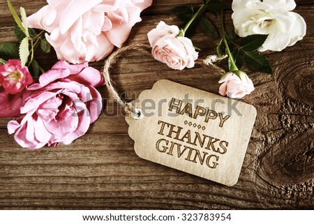 happy thanksgiving message card small roses 写真素材 323783954
