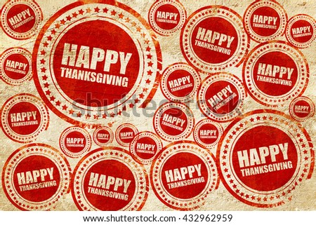 happy thanksgiving, red stamp on a grunge paper texture - stock photo