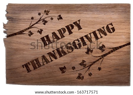 Happy Thanksgiving shield in marquetry style. - stock photo