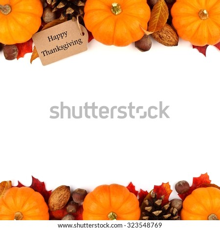 Happy Thanksgiving tag with autumn double border of pumpkins, leaves and nuts isolated on white - stock photo