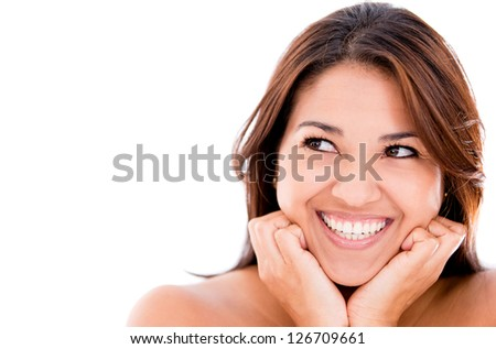 Happy thoughtful woman - isolated over a white background - stock photo