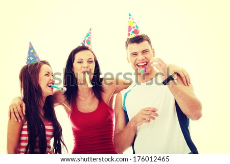 Happy three friends - stock photo