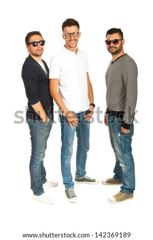 Happy three friends male with sunglasses or eyeglasses in a row isolated on white background - stock photo