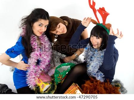 Happy three friends studio shot - stock photo