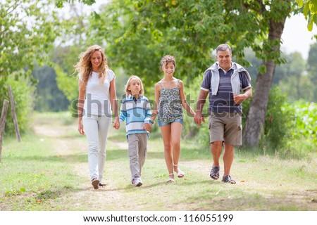 Happy Three Generations Family Outdoor - stock photo