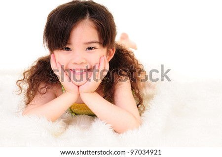 happy time for little girl - stock photo