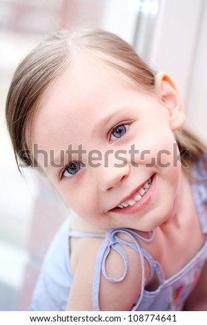happy time for little girl.  portrait of 4 years old girl smiling