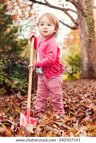 Happy toddler girl playing in the leaves in autumn - stock photo