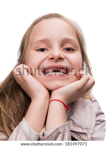 Happy toothless girl on a white background - stock photo