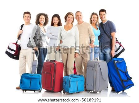 Happy tourist people . Isolated over white background - stock photo