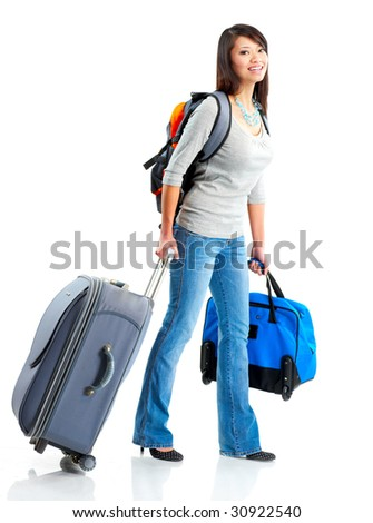 Happy tourist woman . Isolated over white background - stock photo