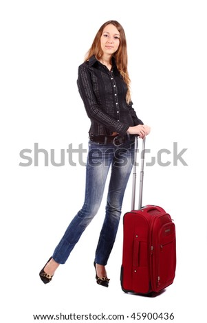 Happy tourist woman with a red suitcase. Isolated over white background.