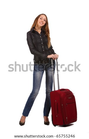 Happy tourist woman with a red suitcase. Isolated over white background