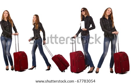 Happy tourist woman with a red suitcase. She holds the white form (blank) for your text - stock photo